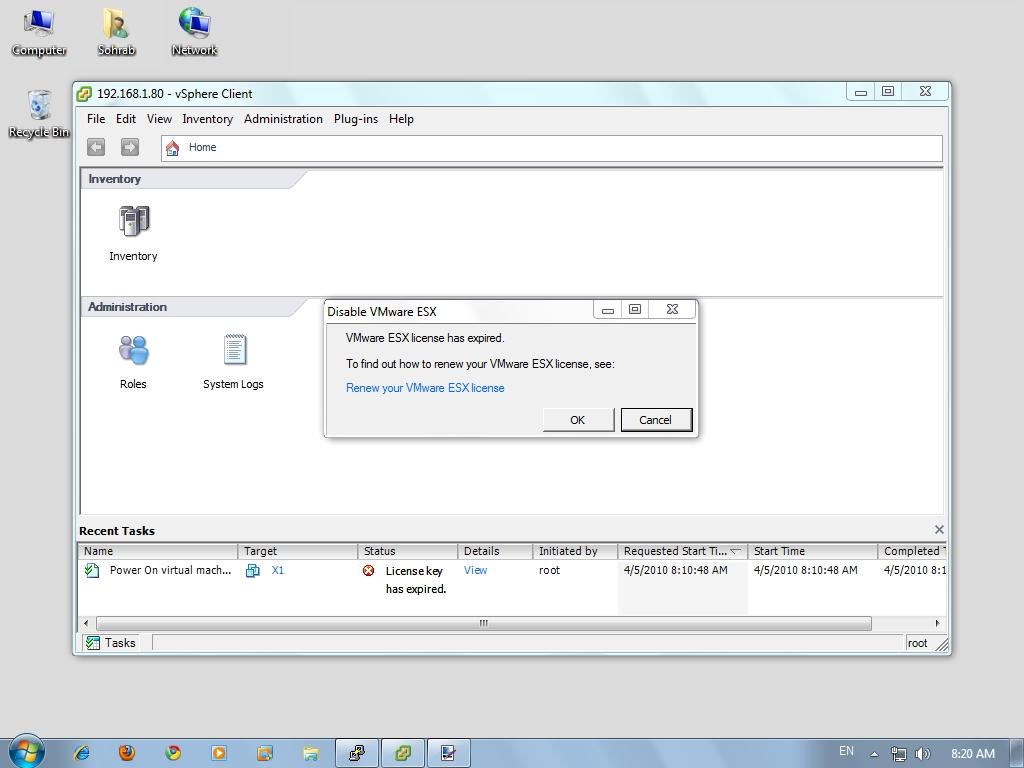 ESXi - No License - Power On Error - 02