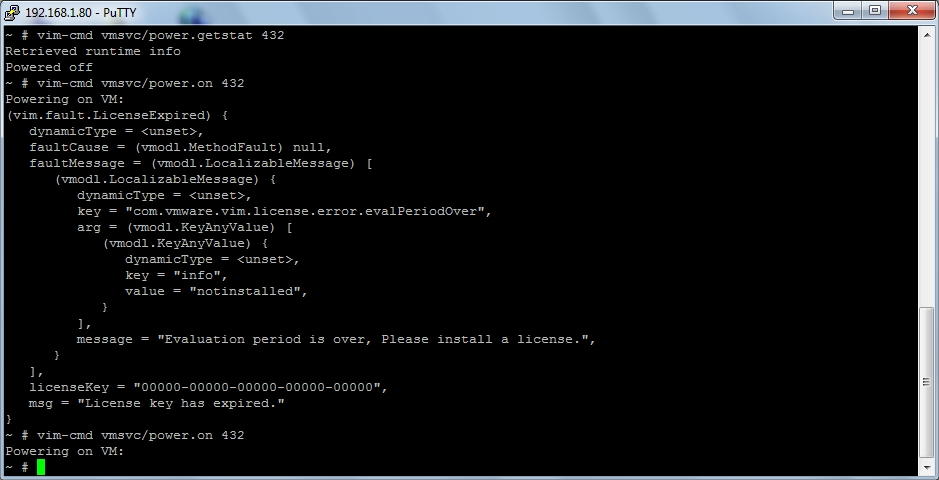 ESXi - No License - Power On Error - 04