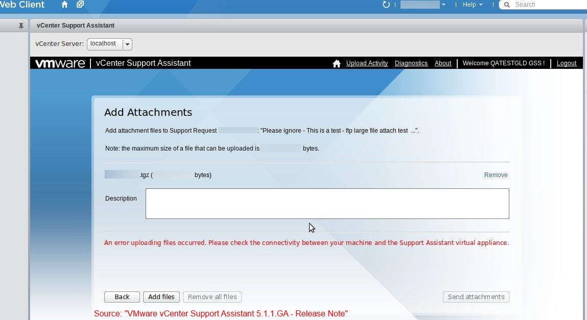 "Source: ""VMware vCenter Support Assistant 5.1.1 - Release Note"""